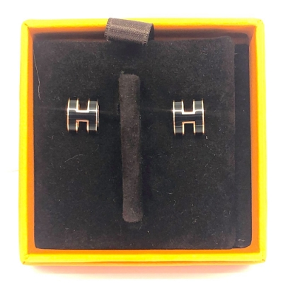Hermes POP MINI H 簍空橢圓穿式耳環(黑色X玫瑰金)