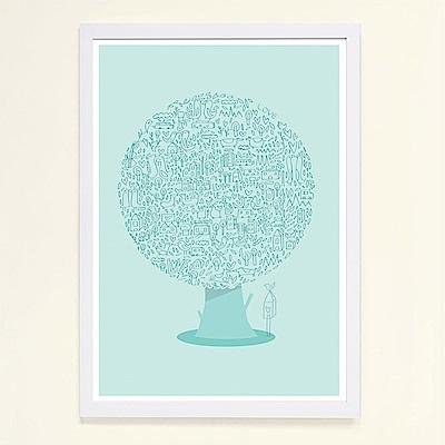 摩達客 西班牙知名插畫家Judy Kaufmann藝術掛畫-動物樹