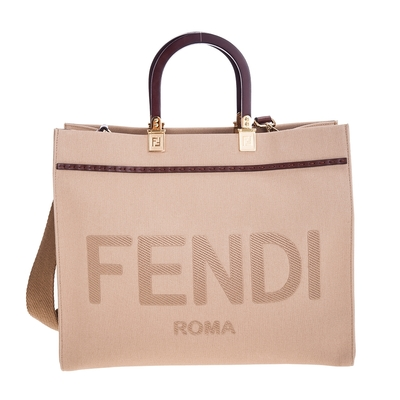 FENDI 新款中型FENDI SUNSHINE米色帆布浮雕「FENDI ROMA」刺繡手提/肩背包