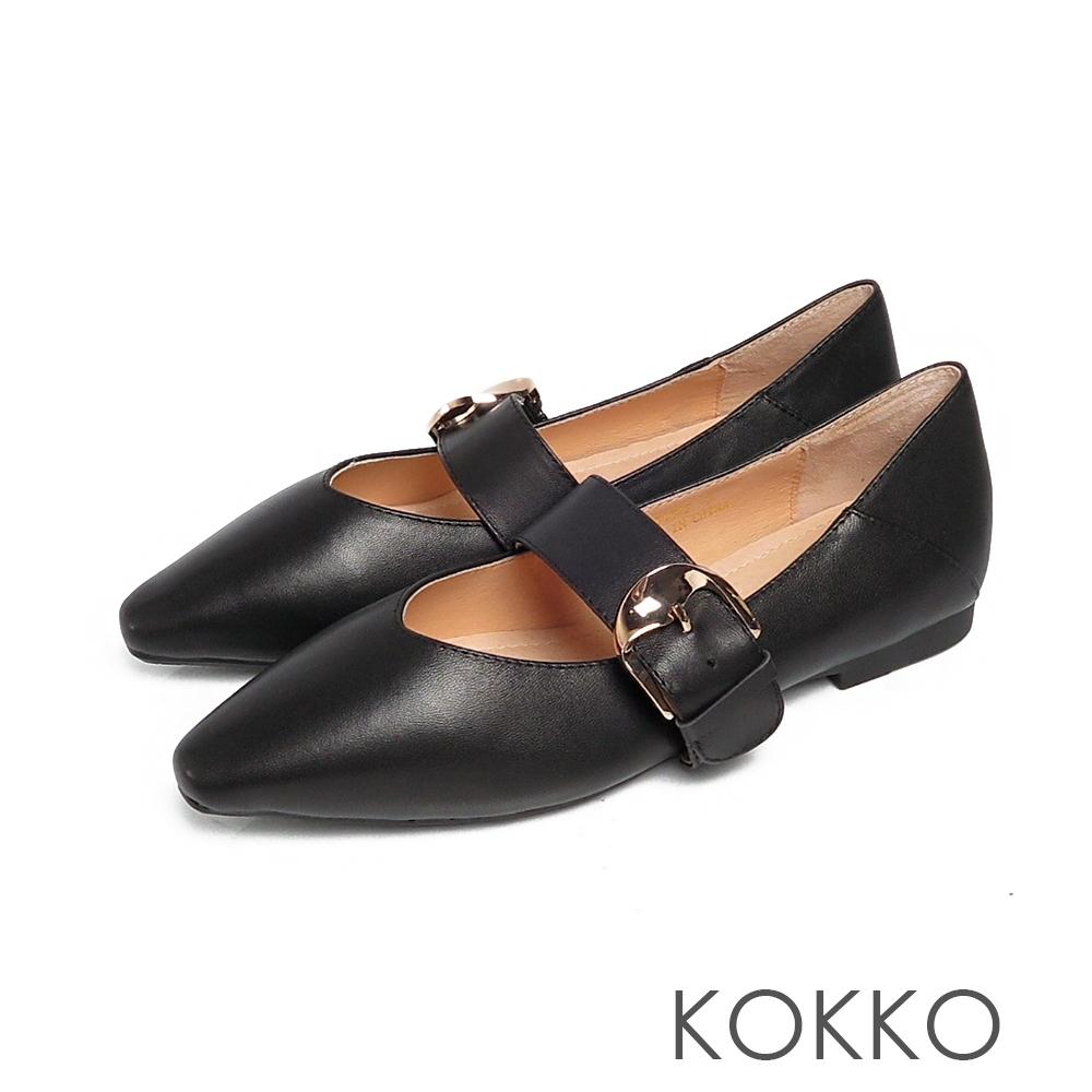 KOKKO超彈方頭寬版瑪莉珍小羊皮平底鞋霧面黑