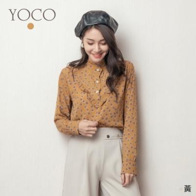 東京著衣-YOCO 復古秋日碎花荷葉領珍珠釦襯衫上衣