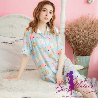 睡衣 全尺碼 動物笑臉圖襯衫式連身裙睡衣(繽紛淺藍) Sexy Meteor