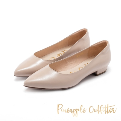 Pineapple Outfitter-PRITAFLAT經典尖頭復古粗跟鞋-粉藕色