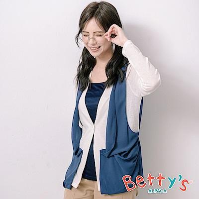 betty's貝蒂思 開襟拼接透膚雪紡假兩件上衣(白色)