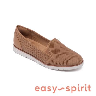 Easy Spirit-seFELICE3 基本皮革輕便休閒平底鞋-咖啡色