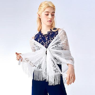 OMUSES 珍珠蕾絲花紋流蘇披肩