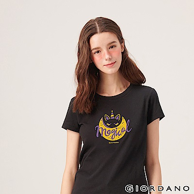 GIORDANO 女裝夢幻獨角獸系列印花T恤-52 標誌黑