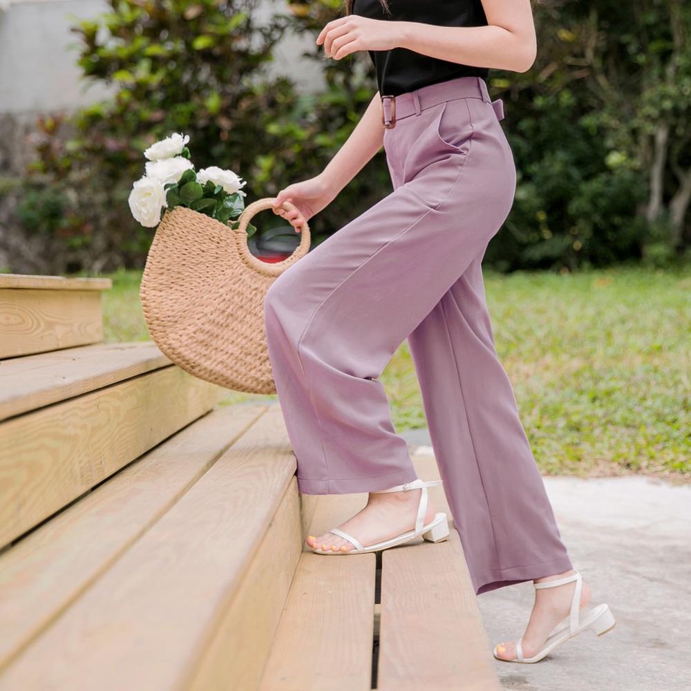 琥珀腰帶純色西裝直筒褲-OB大尺碼