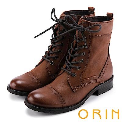 ORIN 中性街頭帥氣 嚴選牛皮綁帶帥氣軍靴-棕色