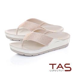 TAS滿版水鑽寬繫帶厚底夾腳涼拖鞋-香檳金