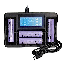 LG 安全認證 凸頭18650充電鋰電池 3400mAh(4入)+LCD液晶四槽充電器