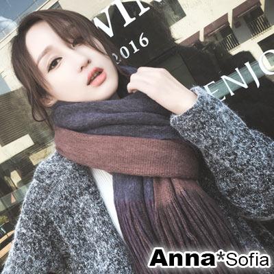 AnnaSofia 雙面色流蘇設計 厚織仿羊絨大披肩圍巾(中版-灰紅+灰藍) @ Y!購物