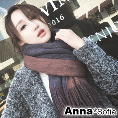 AnnaSofia 雙面色流蘇設計 厚織仿羊絨大披肩圍巾(中版-灰紅+灰藍)