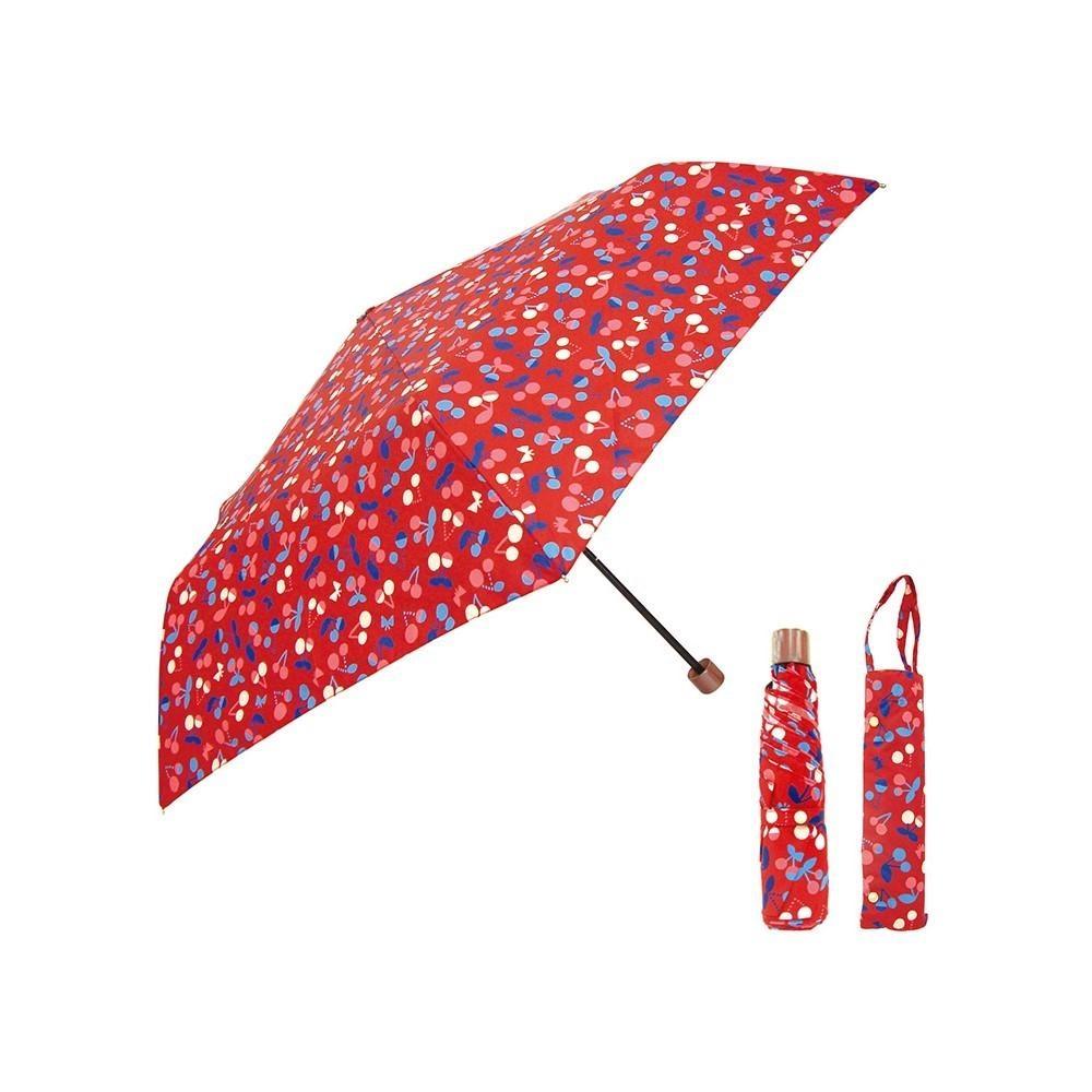 日本Prairiedog 晴雨兩用抗UV摺疊收納傘+多功能收納傘袋-櫻桃紅