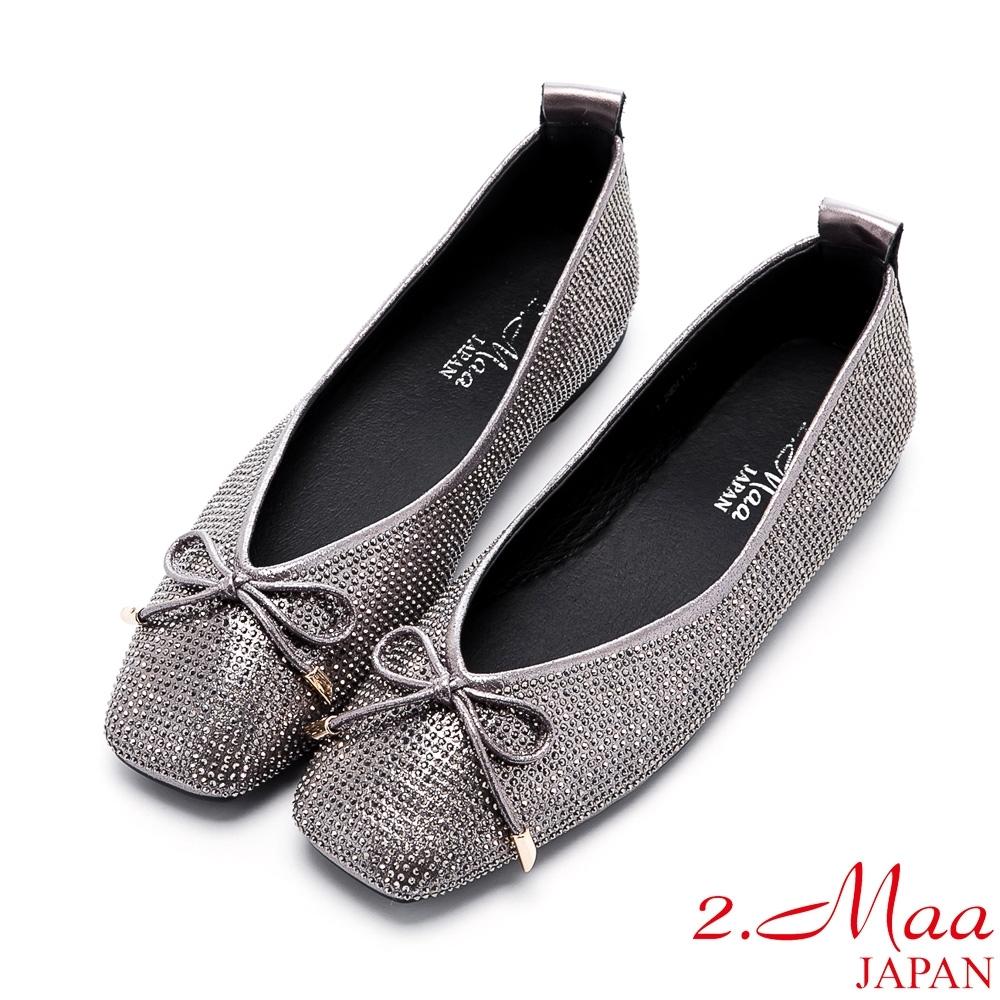 2.Maa 率性水鑽蝴蝶結平底方頭鞋 - 銀