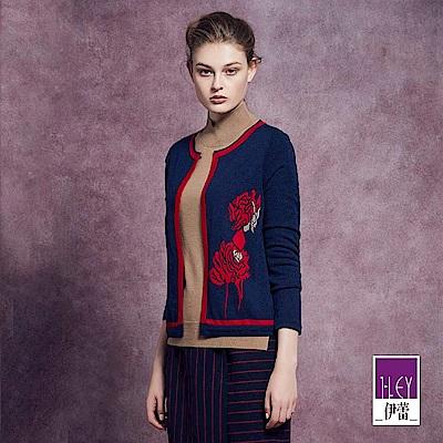 ILEY伊蕾 精緻玫瑰緹織配色針織外套(藍)