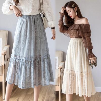 La Belleza鬆緊腰花朵鏤空刻花蕾絲層次下擺中長裙