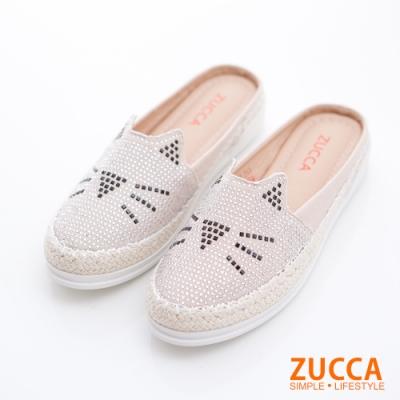 ZUCCA-碎鑽貓咪印平底拖鞋-白-z6803we