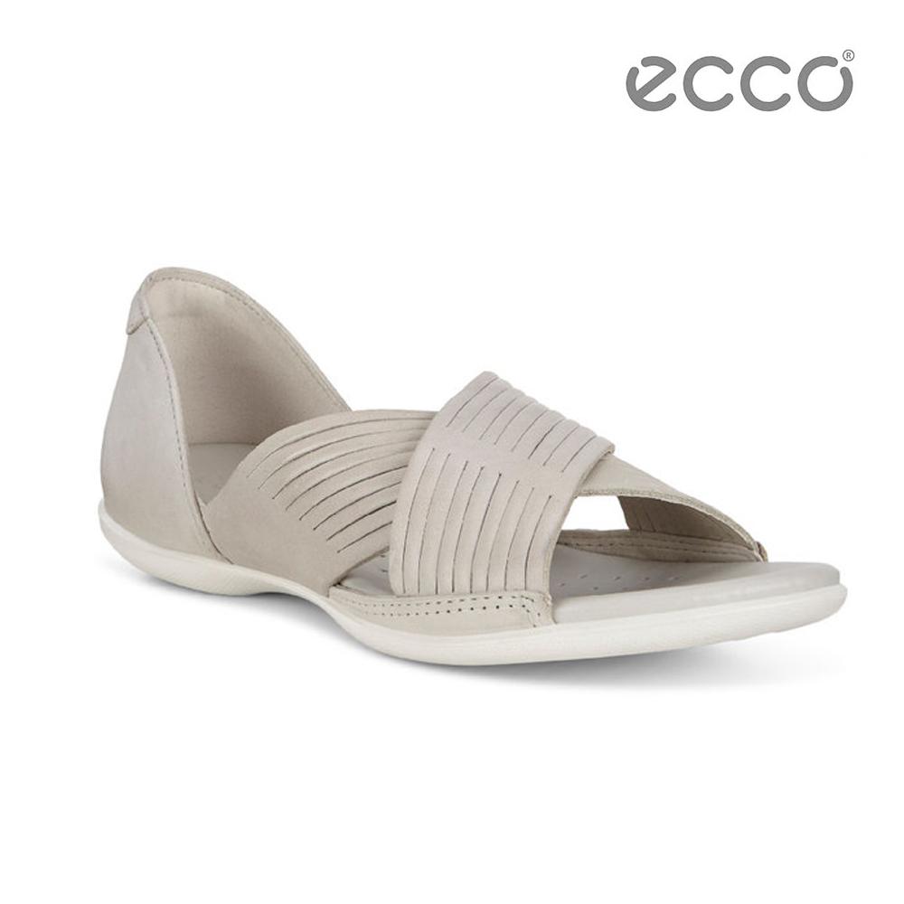 ECCO FLASH 交叉造型平底涼鞋-米