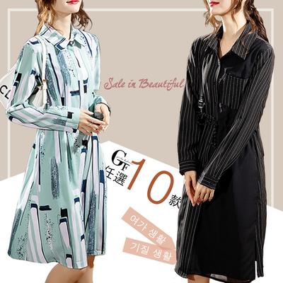 [時時樂] GF-快時尚-顯瘦浪漫優雅印花造型洋裝/外套-10款任選(L~2XL)-1件680