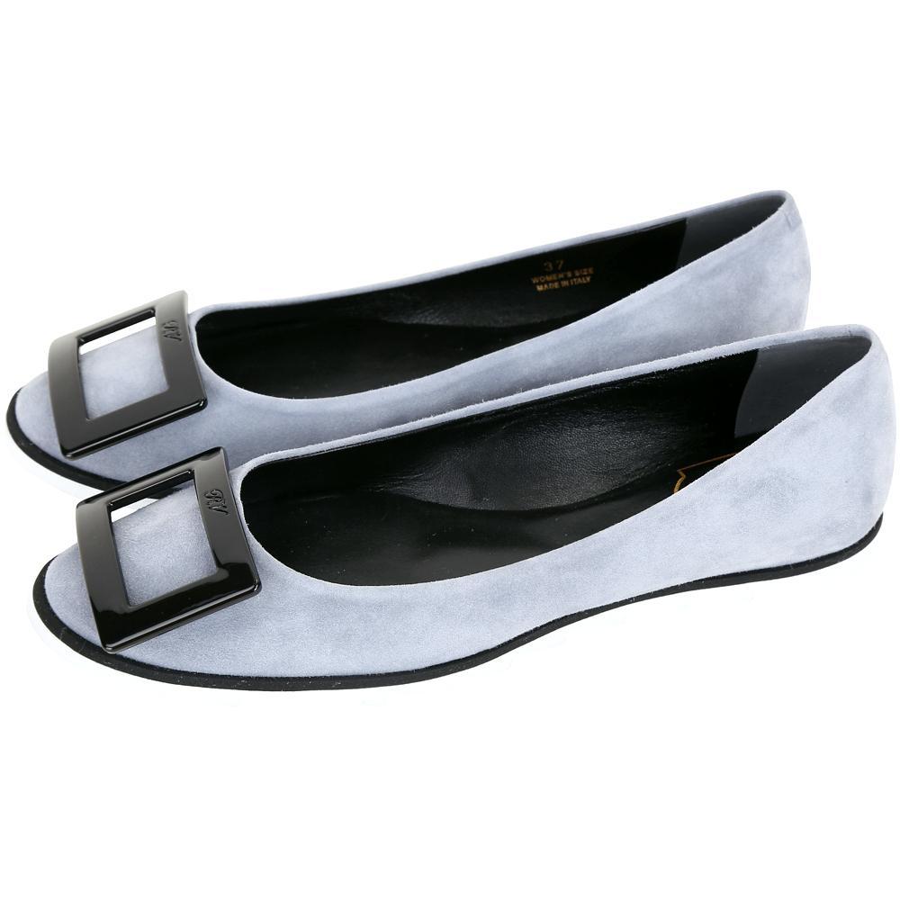 Roger Vivier Gommette 經典方框鋸齒狀外底麂皮娃娃鞋(灰色)