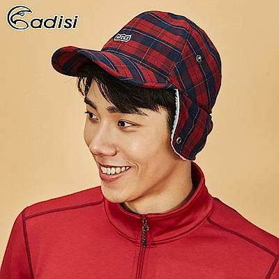 ADISI 格紋速乾保暖折眉護耳頸球帽AS18064【棗紅】