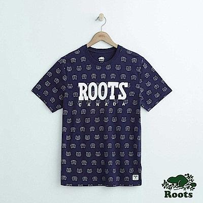 男裝Roots 動物滿版印花短袖T恤-藍