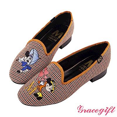 Disney collection by grace gift經典年代復古樂福鞋 紅格