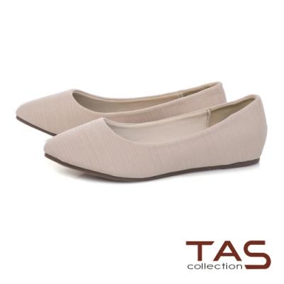 TAS進口彈力布平底娃娃鞋-質感米