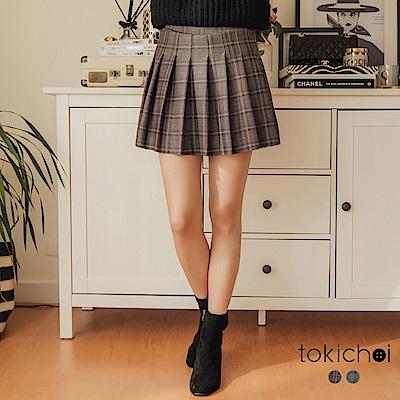 東京著衣 學院英倫風彈性腰頭百褶格紋褲裙-S.M(共二色)