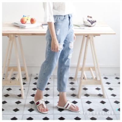 Secret Closet-小雛菊破洞寬鬆牛仔褲