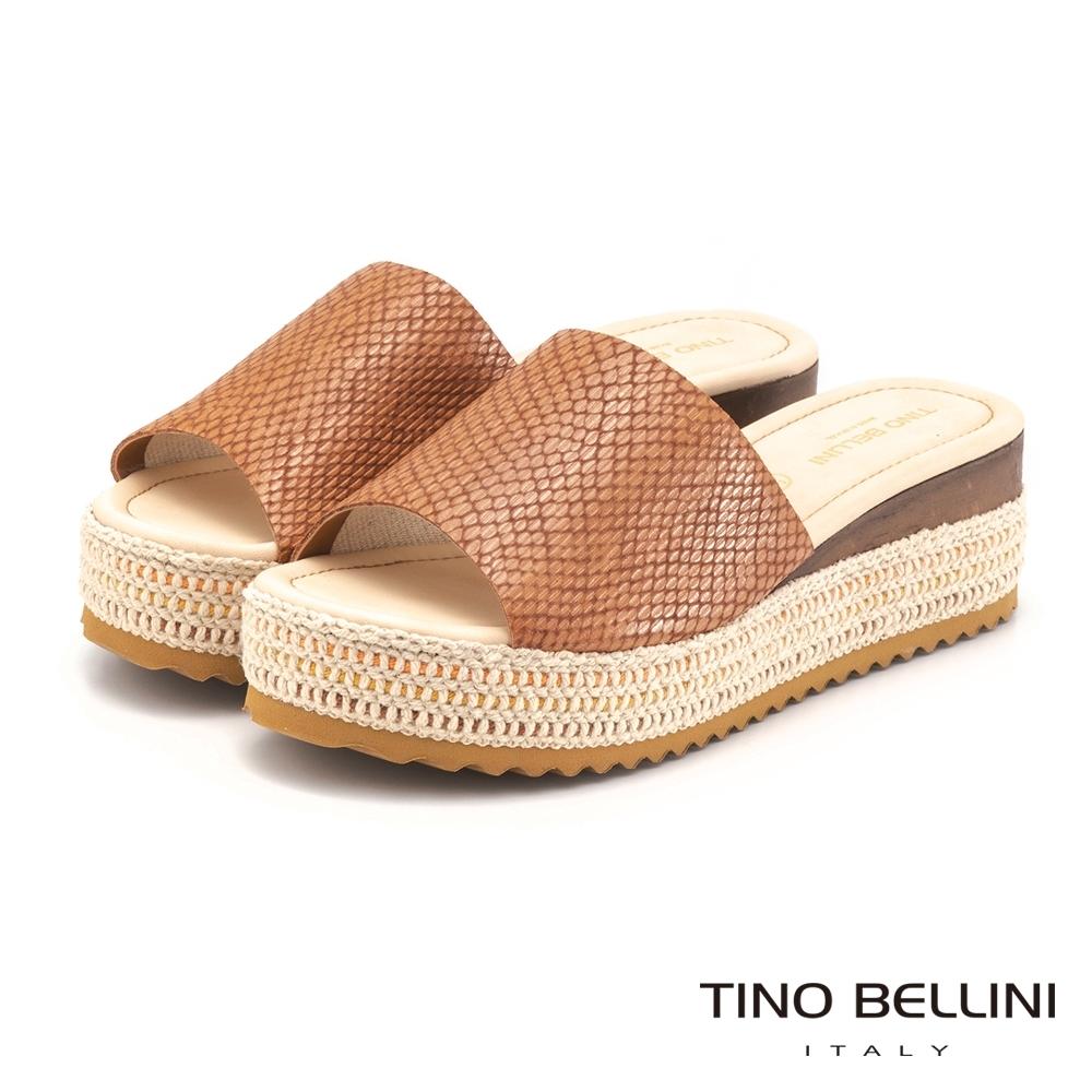 Tino Bellini巴西進口恣意大方編織厚底拖鞋_咖