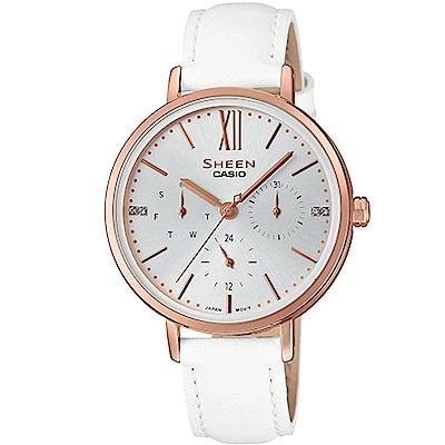 SHEEN粉嫩色系簡約風格多重指針皮帶腕錶(SHE-3064PGL-7)蜜桃金X白34mm