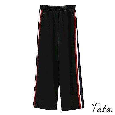 高腰側條紋鬆緊腰休閒褲 TATA
