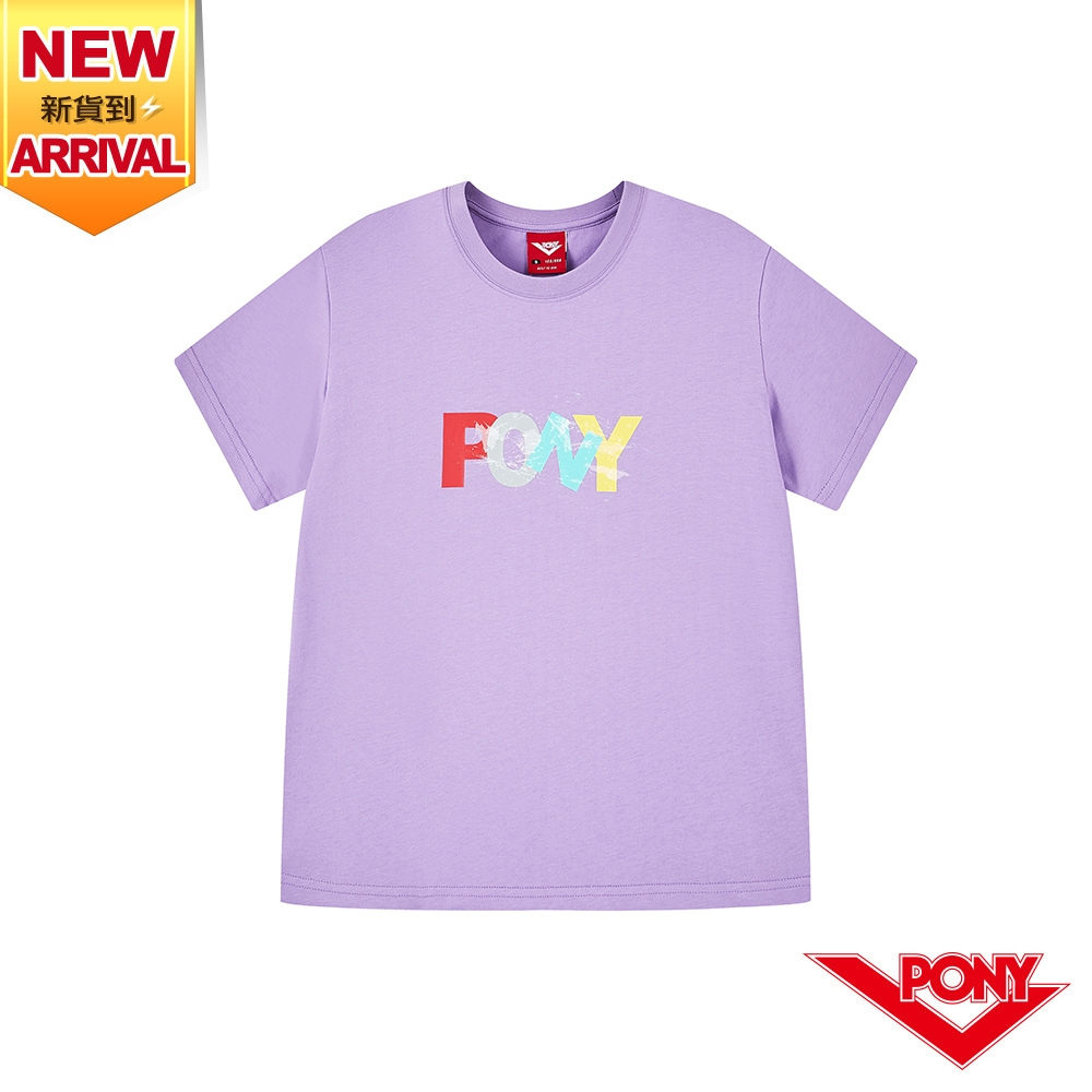 【PONY】繽紛彩虹色LOGO 棉T 短袖上衣 女款-紫色  短袖T恤