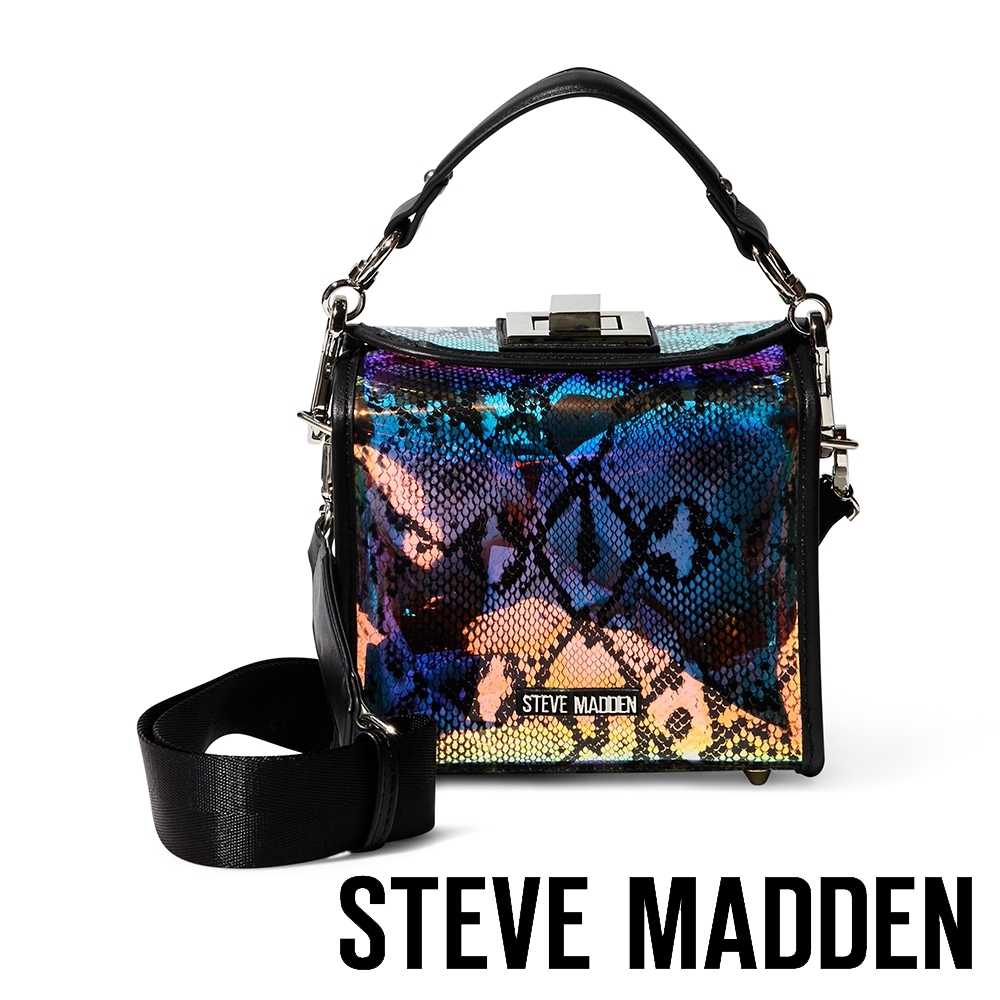 STEVE MADDEN-BMAXI 炫彩亮眼蛇紋手提斜背兩用包-彩虹色