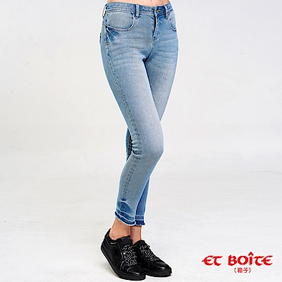 ETBOITE 箱子 BLUE WAY 針織丹寧高腰窄直筒褲