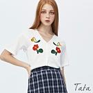V領花朵刺繡針織上衣 TATA-F