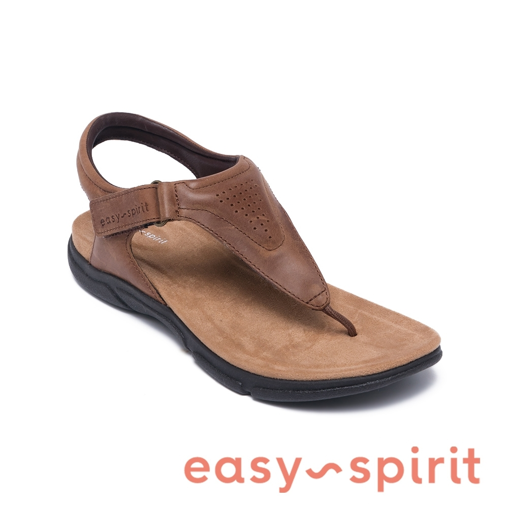 Easy Spirit-seMELONY 透氣牛皮氣質夾腳拖鞋-咖啡色