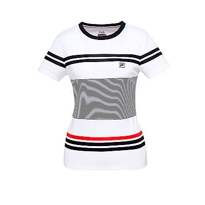 FILA 女款抗UV吸濕排汗T恤-白 5TET-1005-WT