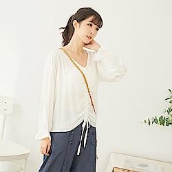 慢 生活 抽繩造型薄款長袖上衣 白色/綠色