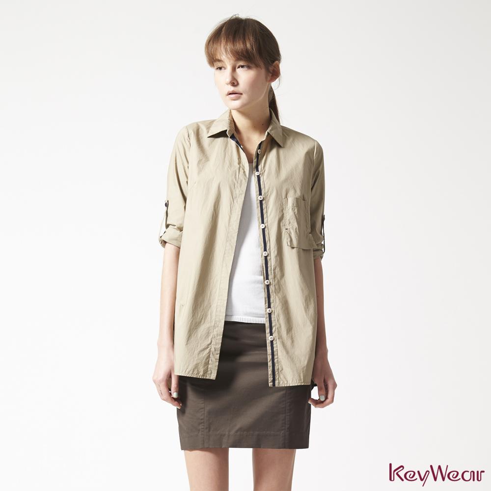 KeyWear奇威名品     100%純棉時尚商務五分袖襯衫-卡其色 @ Y!購物