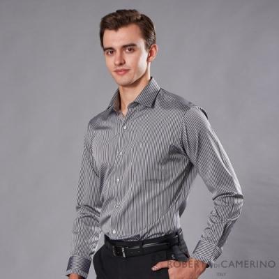 ROBERTA諾貝達 台灣製  合身版 商務型男 條紋長袖襯衫 黑灰