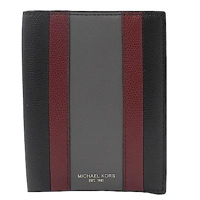 MICHAEL KORS Warren條紋拼色防刮牛皮護照夾(紅黑)