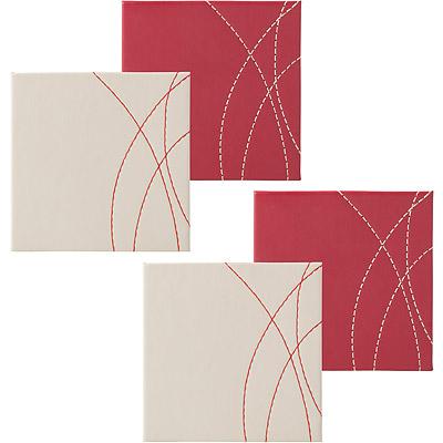 CreativeTops 縫紋皮革杯墊4入(紅)