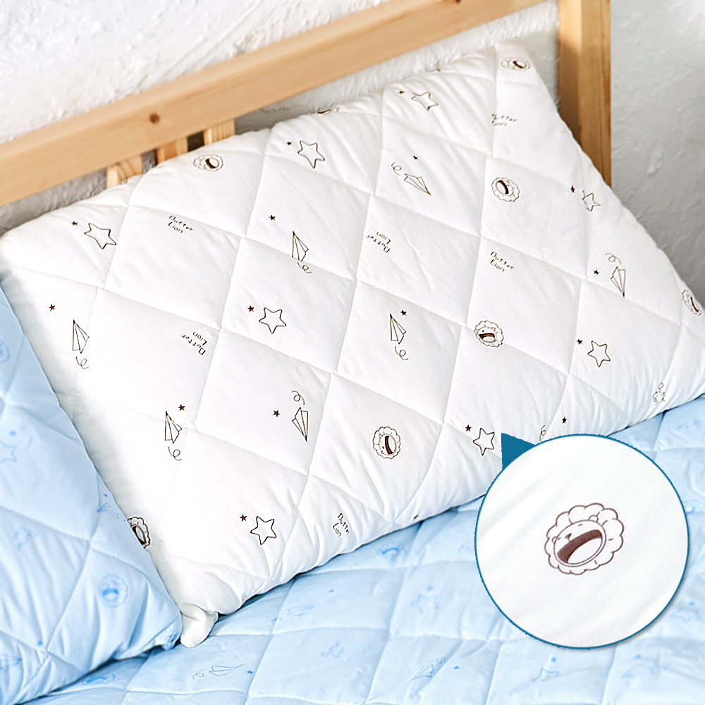 奶油獅-星空飛行-台灣製造-美國抗菌防污鋪棉保潔枕頭套-米(二入)