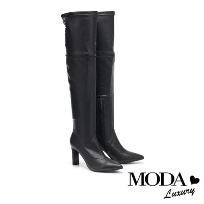 過膝靴 MODA Luxury 輕熟時尚黑鑽網格尖頭造型高跟過膝靴-黑