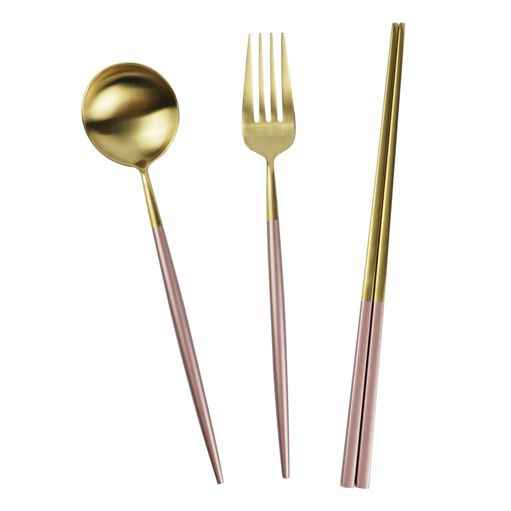 Caldo卡朵生活 玫瑰光影不鏽鋼環保餐具組-2色任選 product image 1