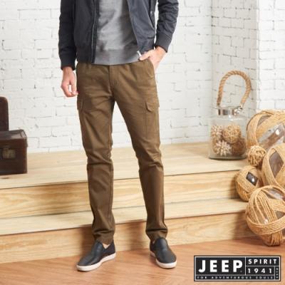 JEEP經典休閒修身口袋工作褲 -淺褐色