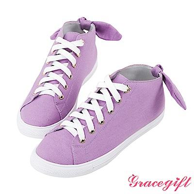 Grace gift-後蝴蝶結中筒休閒帆布鞋 紫